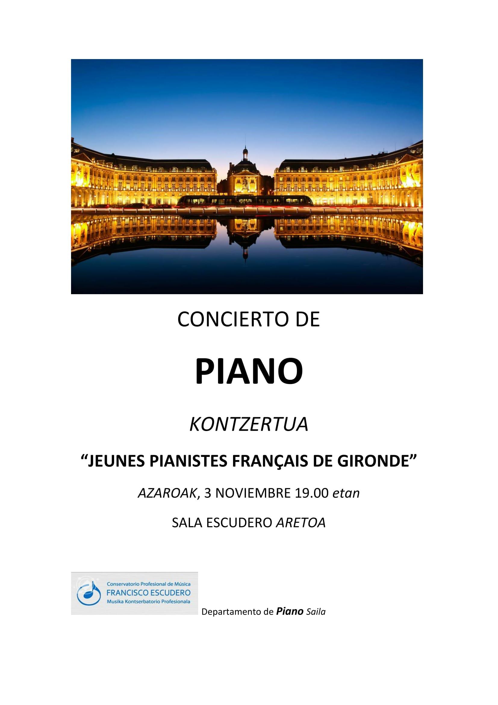 Piano  Kontzertzua  JEUNES  PIANISTES  FRANÇ  AIS  DE  GIRONDE